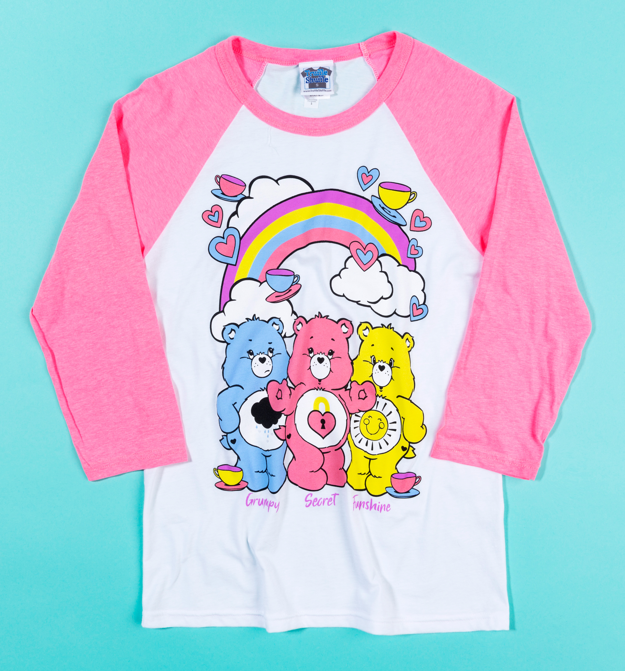 0102cfbaab4 Women's Care Bears Hearts and Tea Cups Baseball T-Shirt - Designed in  collaboration with Sarah Louise Porter - Includes a limited edition Care  Bears enamel ...