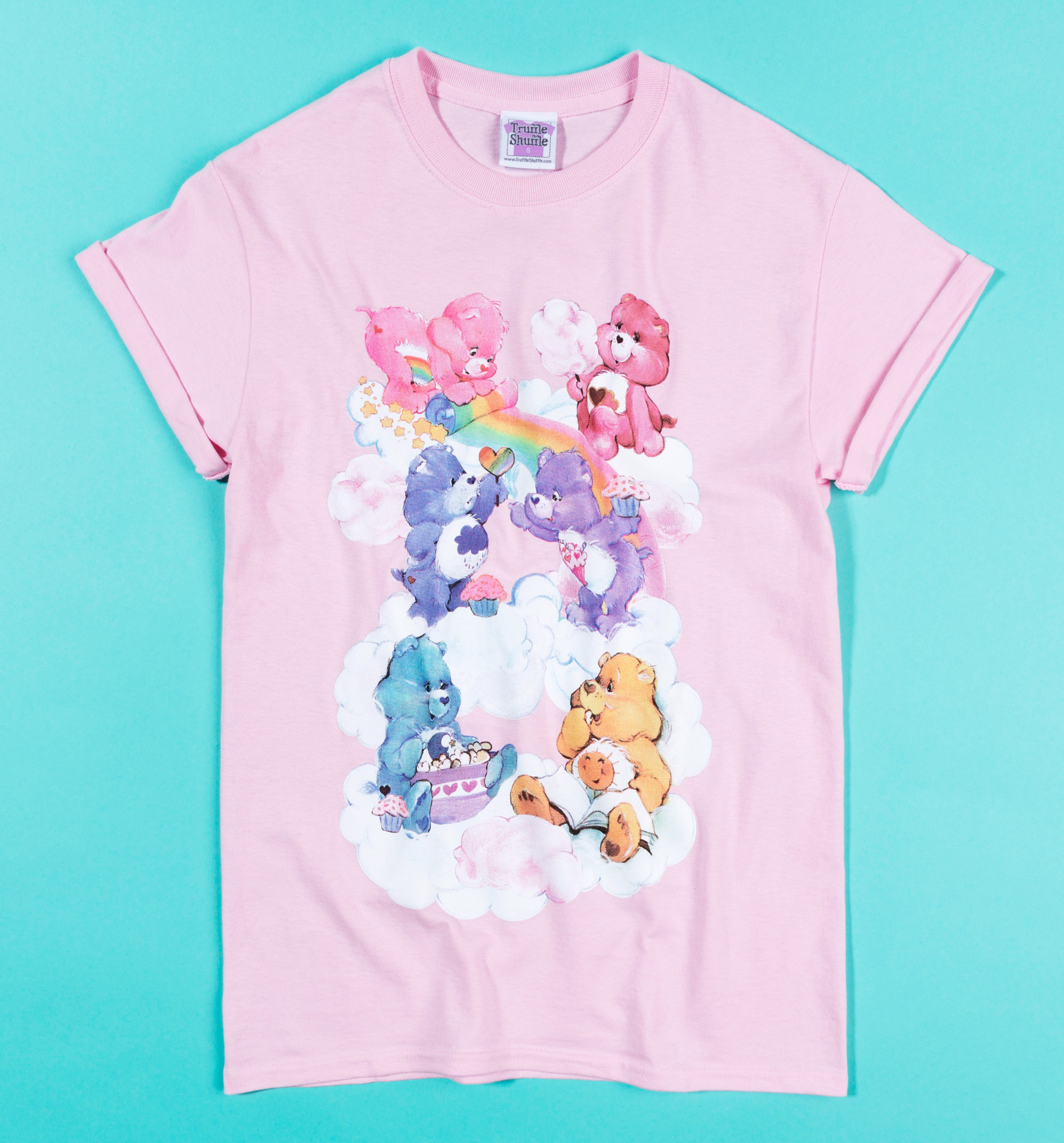 33ace51542e Women's Care Bears Sweet Treats Clouds Light Pink Boyfriend Fit Rolled  Sleeve T-Shirt - Designed in collaboration with Emily Jayne of  LoveEmilyJayne