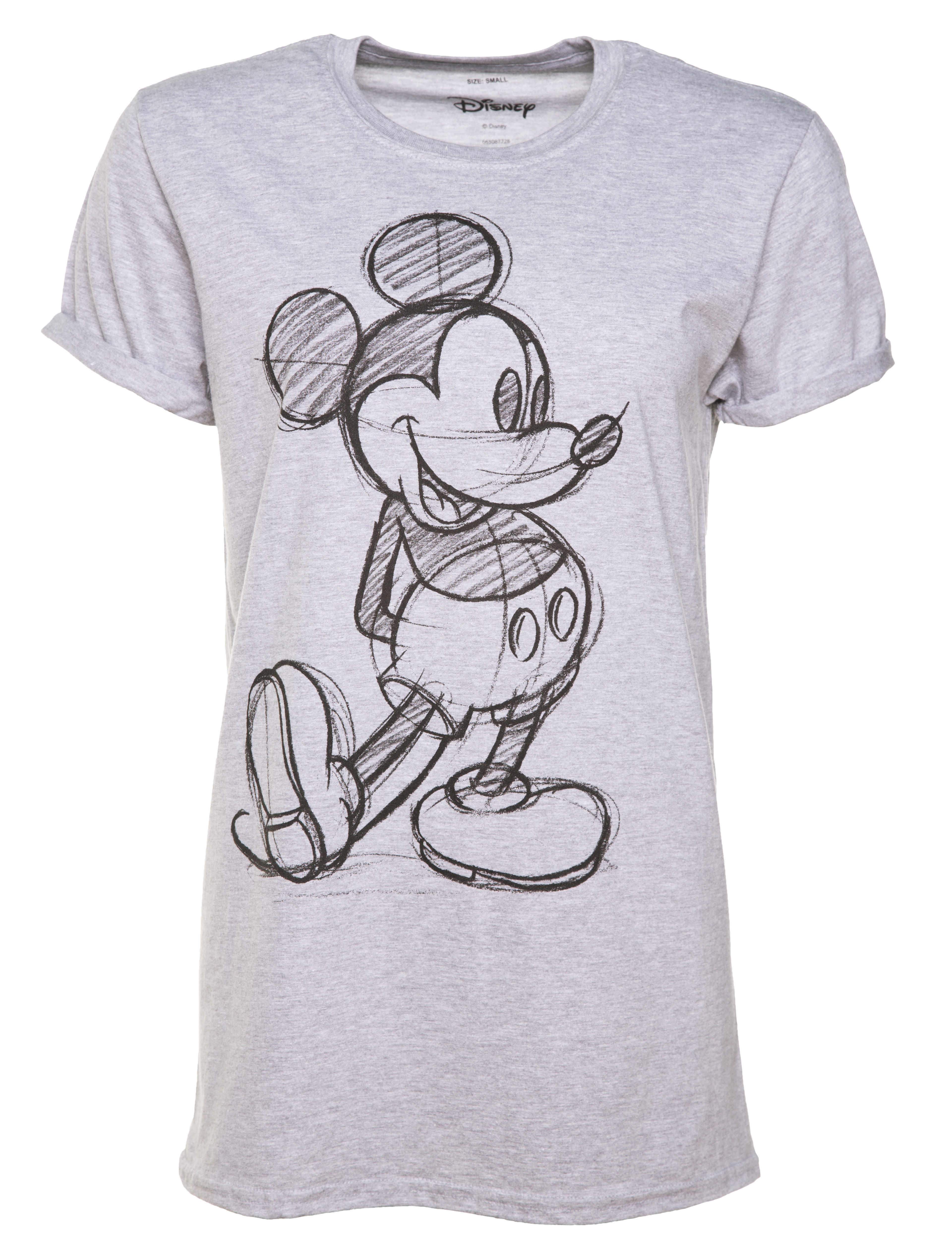 bd71ed3b Women's Grey Marl Vintage Disney Mickey Mouse Sketch Rolled Sleeve T-Shirt  - Made from 90% cotton, 10% polyester - Soft feel, lightweight tee - Runs  small ...