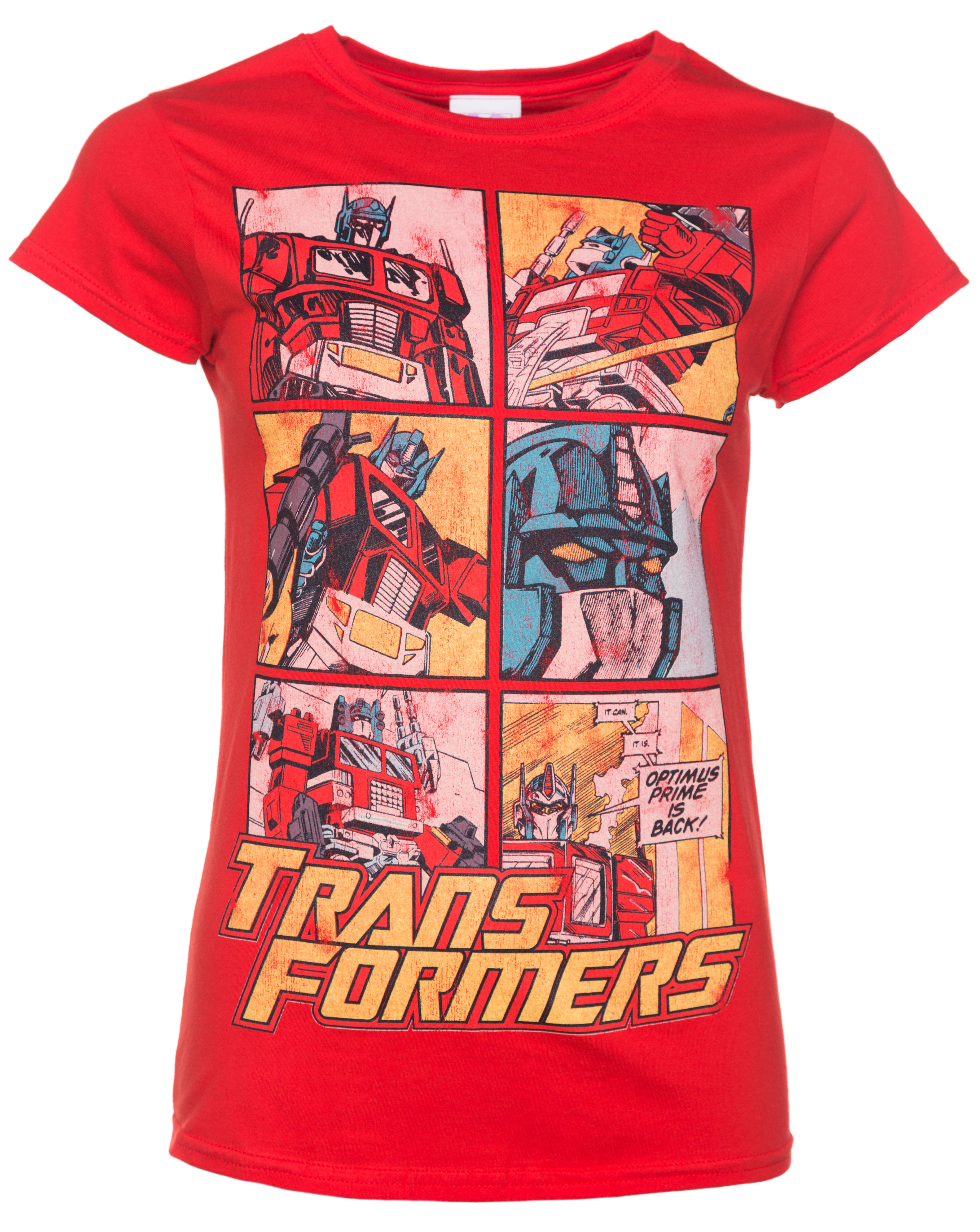 Women 39 s transformers optimus prime comic red t shirt for The red t shirt company