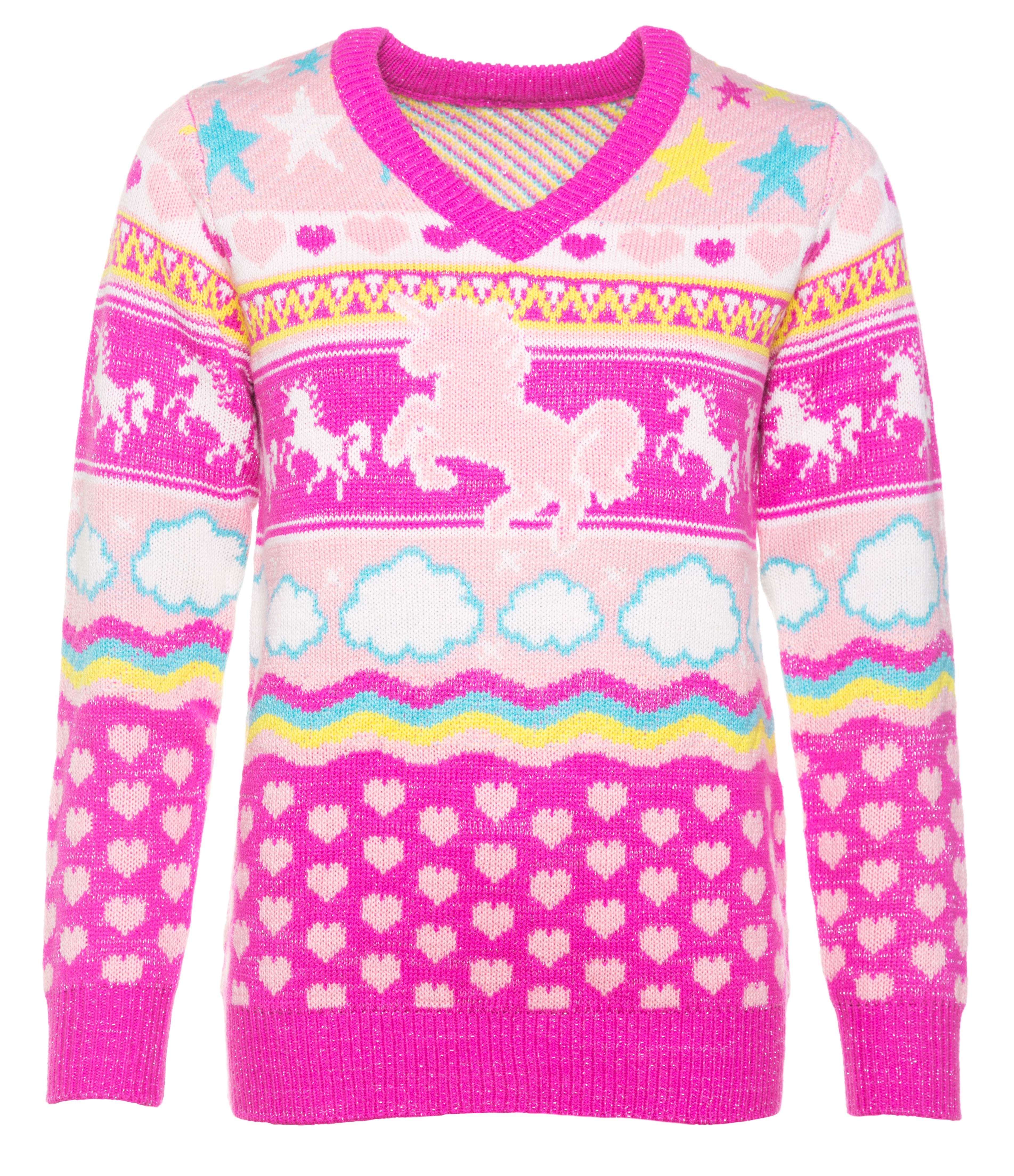 b6a40a664ccd Women s Unicorn Knitted V-Neck Jumper from Cheesy Jumpers - Quality knitted  jumper composed of 100% premium acrylic yarn - A fully knitted jumper  featuring ...