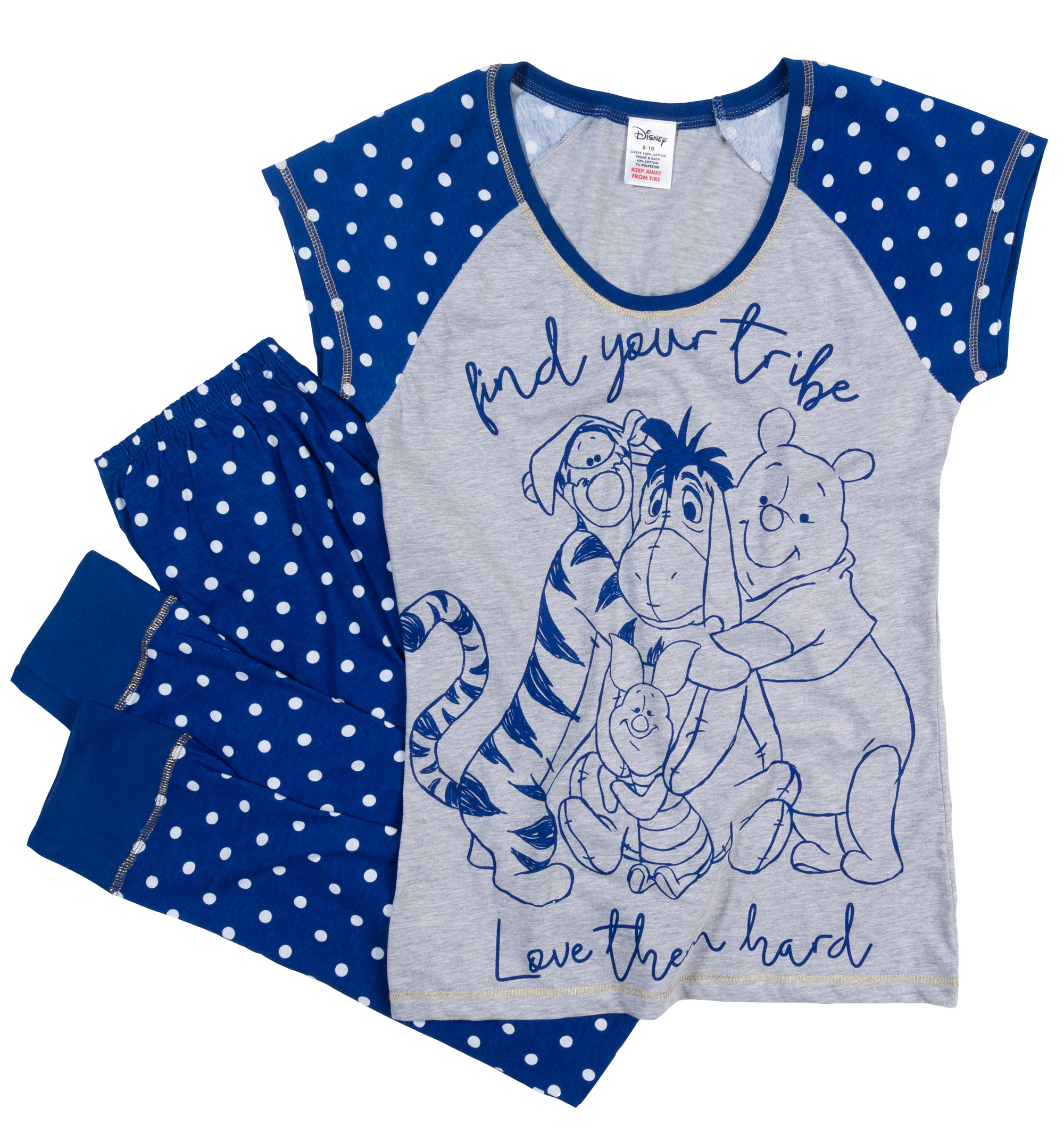 Women s Winnie The Pooh Find Your Tribe Pyjamas - Screen printed for a high  quality finish - Made from 100% cotton - Ringer style grey tee with polka  dot ... 0e9cd8faf5