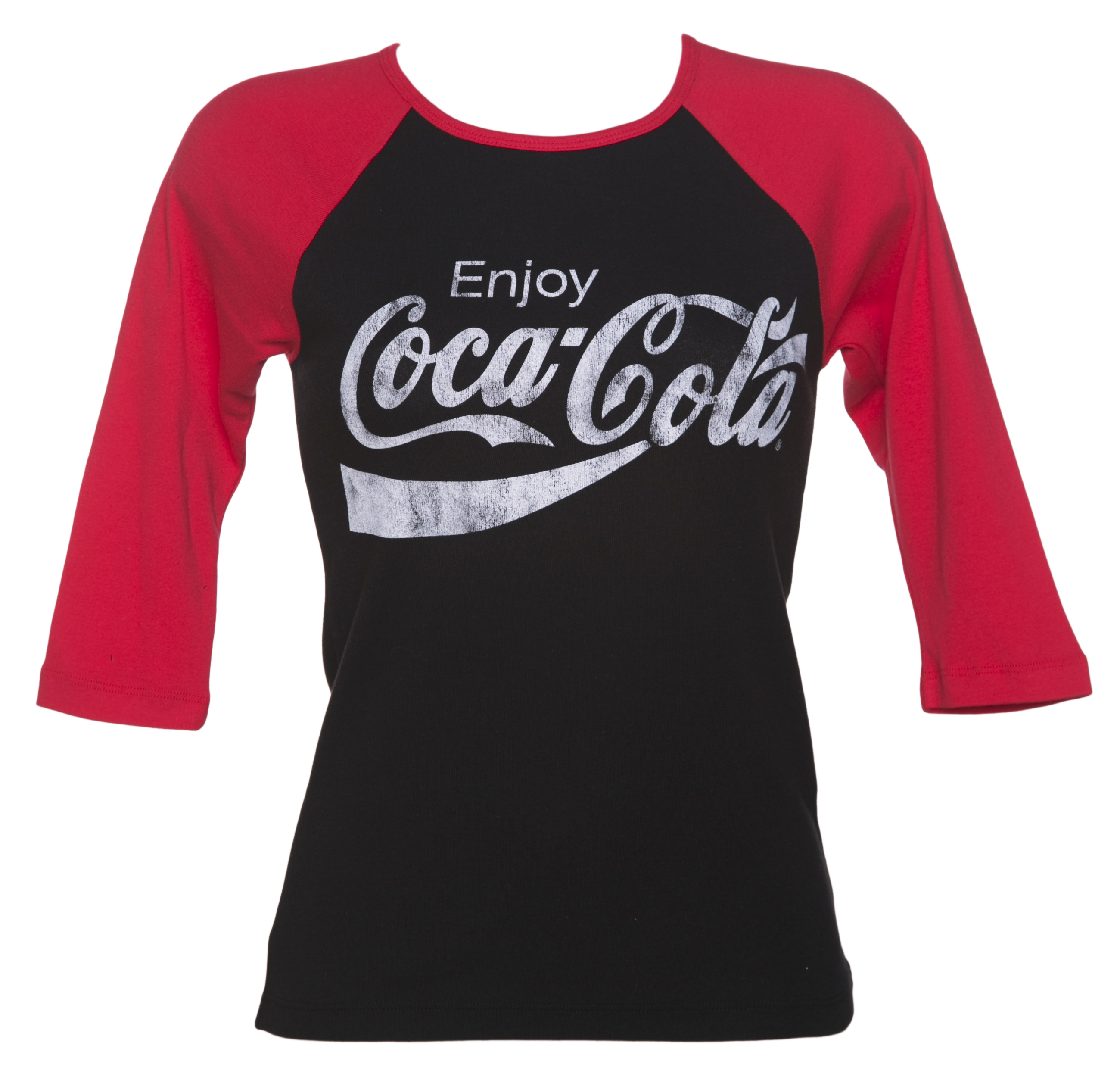 women 39 s enjoy coca cola skinny fit raglan baseball t shirt. Black Bedroom Furniture Sets. Home Design Ideas